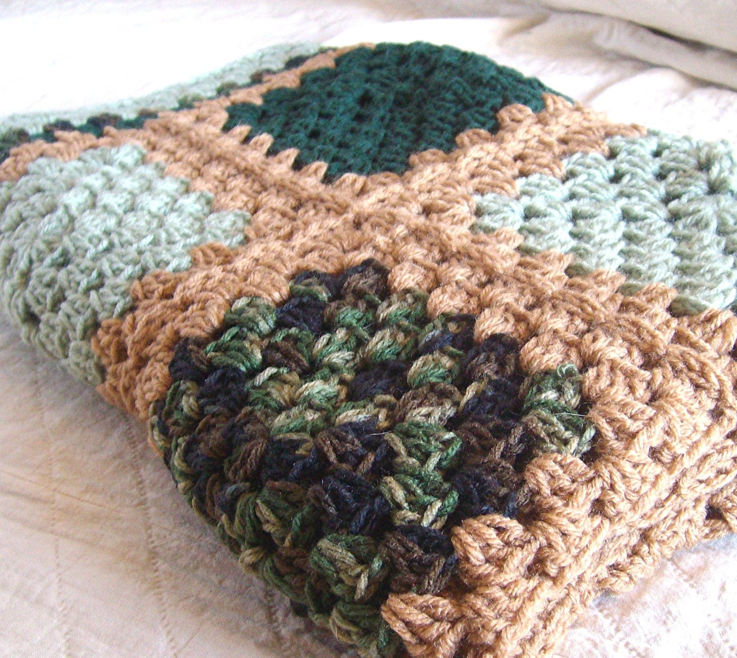 "Crochet Granny Square Blanket- Granny Square Afghan / Moss Green Brown Forest Green Crochet Blanket - Rustic Cabin Decor 36"" x 47"" - ThePrairieCottage"