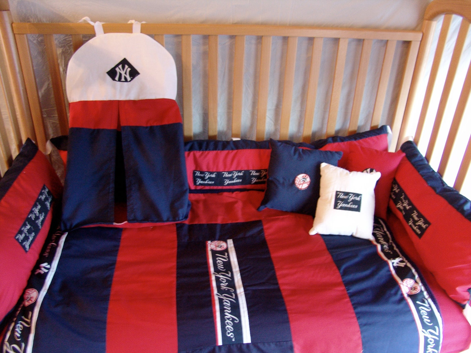 5 Pc New York Yankees Baby Bedding Set Free By Bedbugscreations