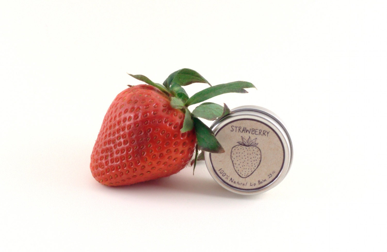 Strawberry Lip Balm - Made with all natural local beeswax and orgainc shea butter - Lip Balm Tin - EvergreenCo