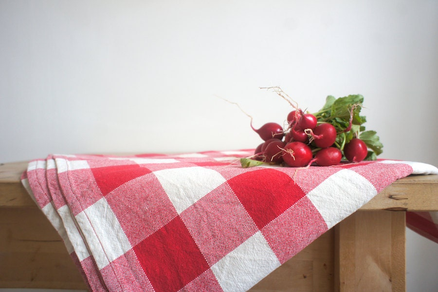 RESERVED French Tablecloth // Red and White by ...