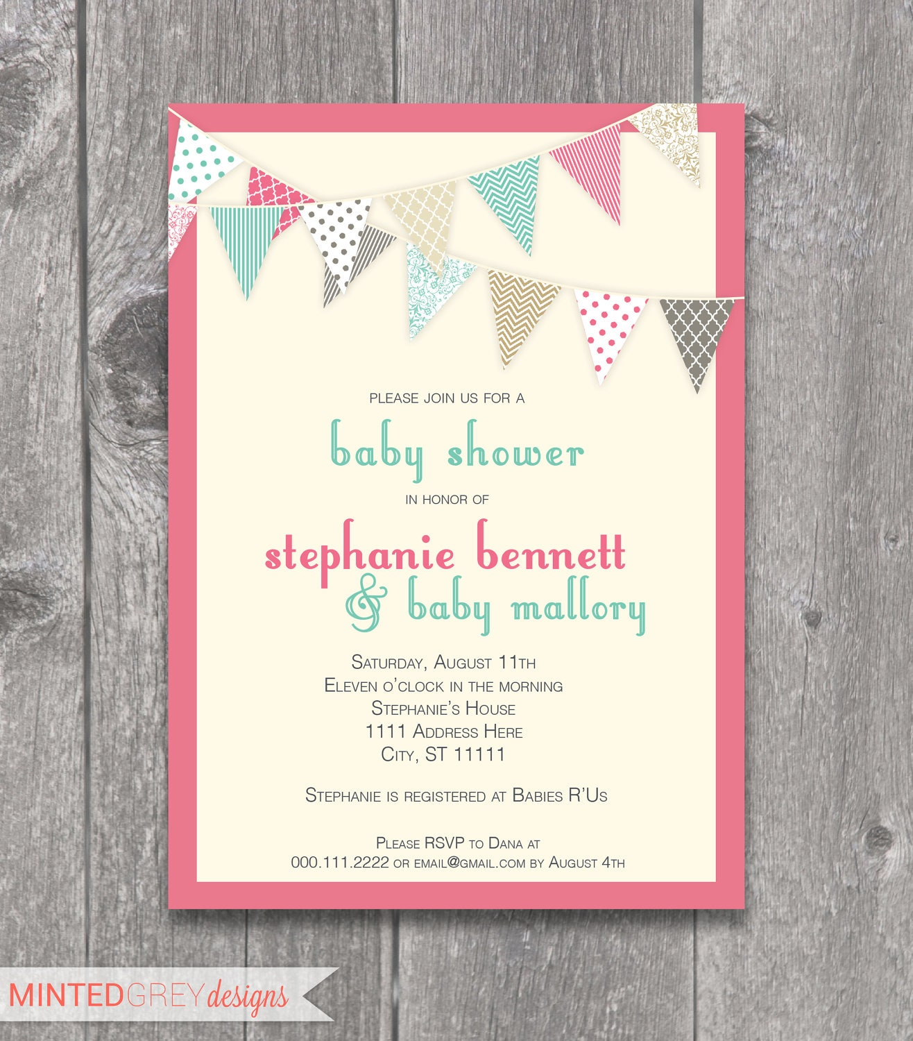 printable pink turquoise baby shower by mintedgreydesigns