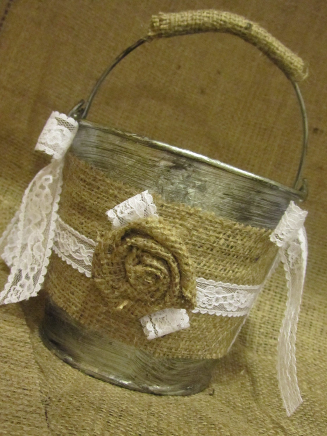 Flower Girl Baskets Burlap And Lace : Etsy your place to buy and sell all things handmade