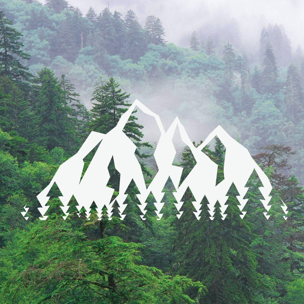 Mountain Tree Decal Mountain Tree Range Decal Adventure Decal Nature Decal CarLaptopMacBook Decal Tree Mountains Sticker