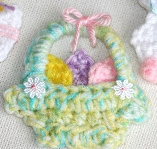 Crocheted Applique Pin Magnet Fridgie Easter Bunny chick egg basket