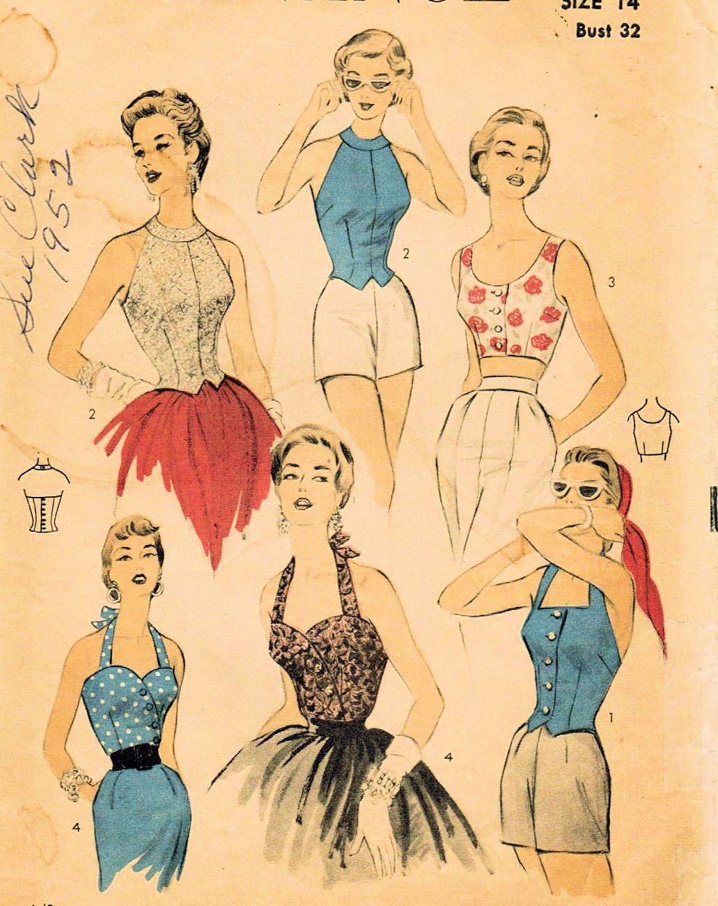 vintage 1954 advance 6689 sewing pattern misses by