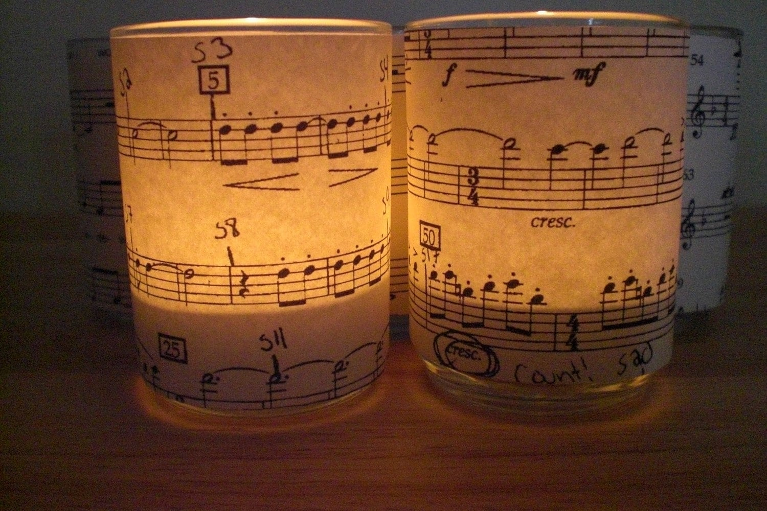 Sheet Music Tea Light Candle Holders  Set of 4