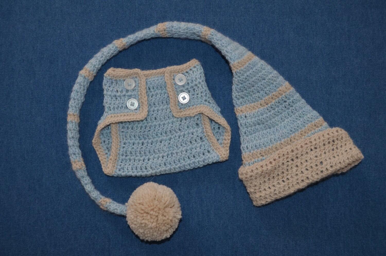 Blue Elf Baby Boy  Alpaca Newborn Photo Set Hat with Diaper Cover Stocking Cap Photo Prop - alpacakids