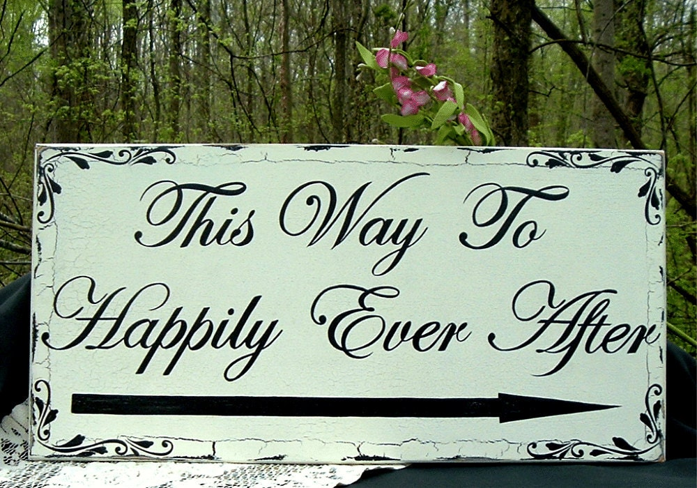 Hand Painted Wedding Signs Shabby Chic Wood Sign Happily Ever After 24 x 12