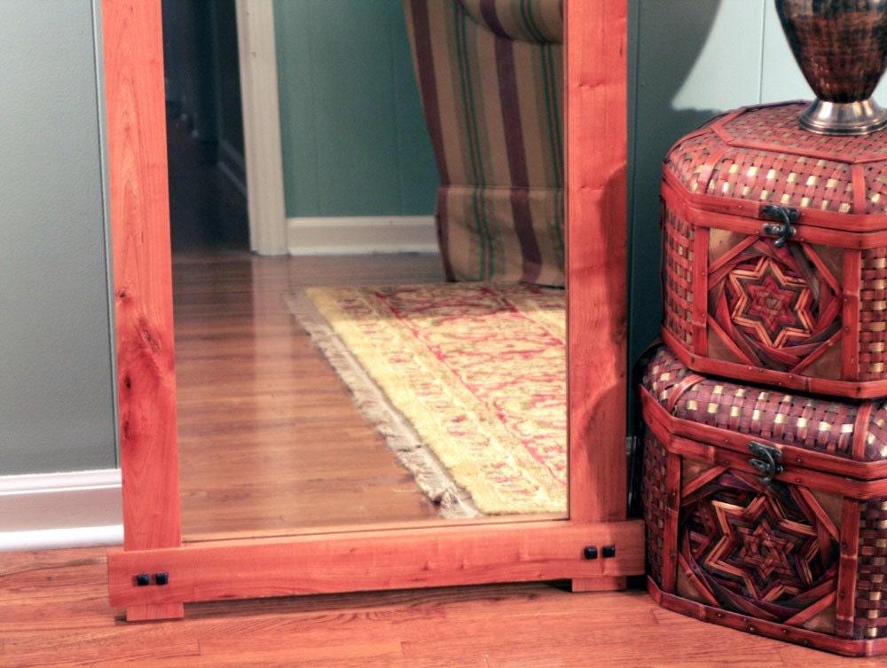 Rustic cherry full length or floor mirror by for Full length floor mirror
