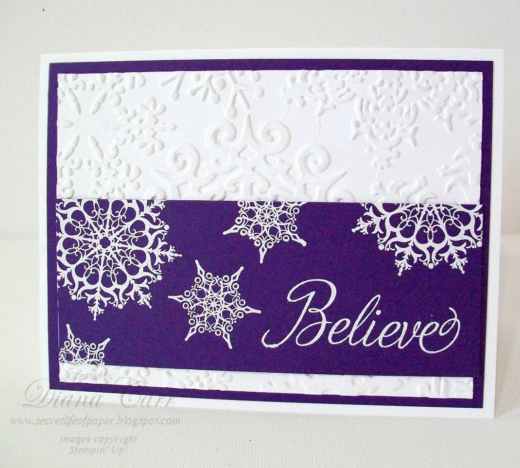 Handmade christmas card believe elegant purple by for Elegant homemade christmas cards