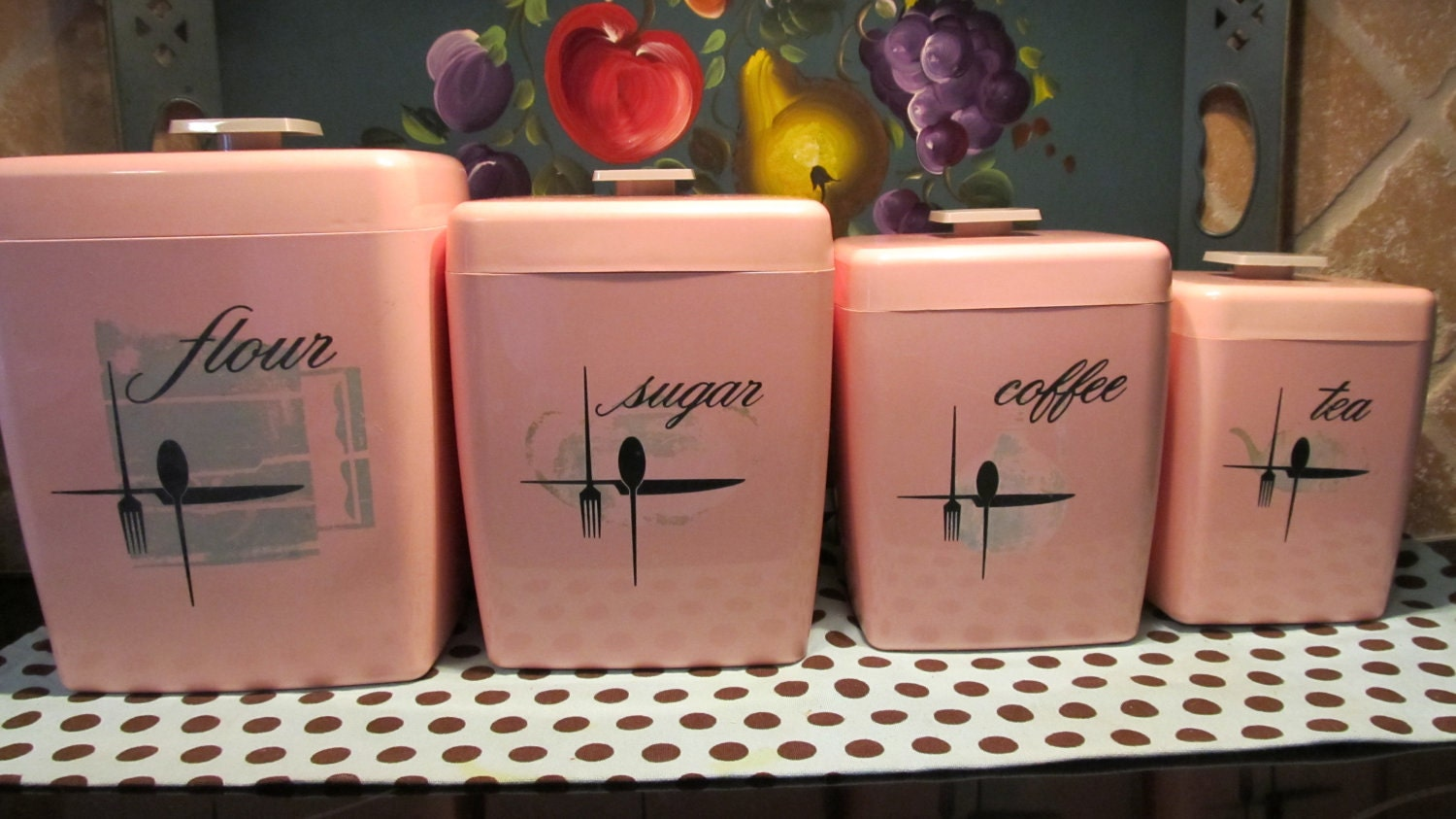 ... Vintage Retro Kitchen Canisters Set Pink Kitchen Canister Set 100  Images Pink Canister Set Etsy ...