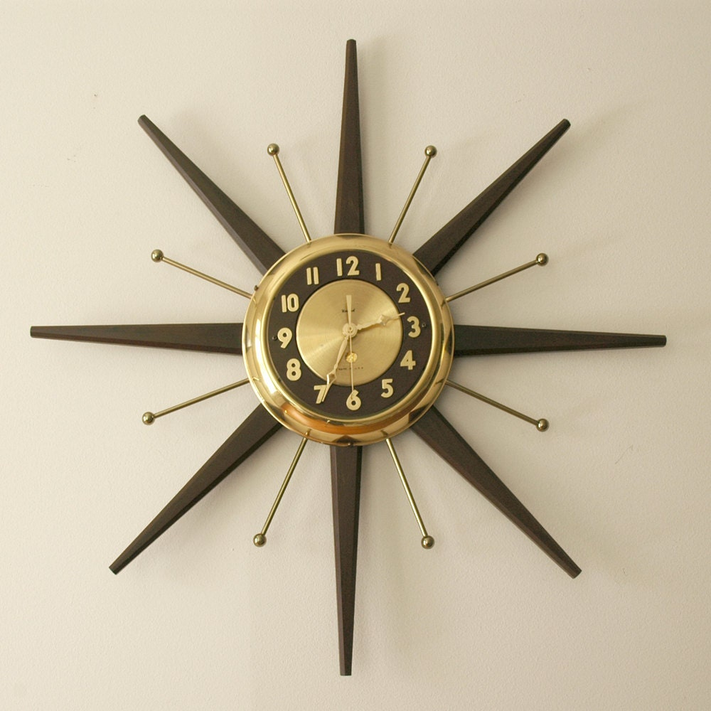 mid century modern starburst wall clock by by noworseforwear