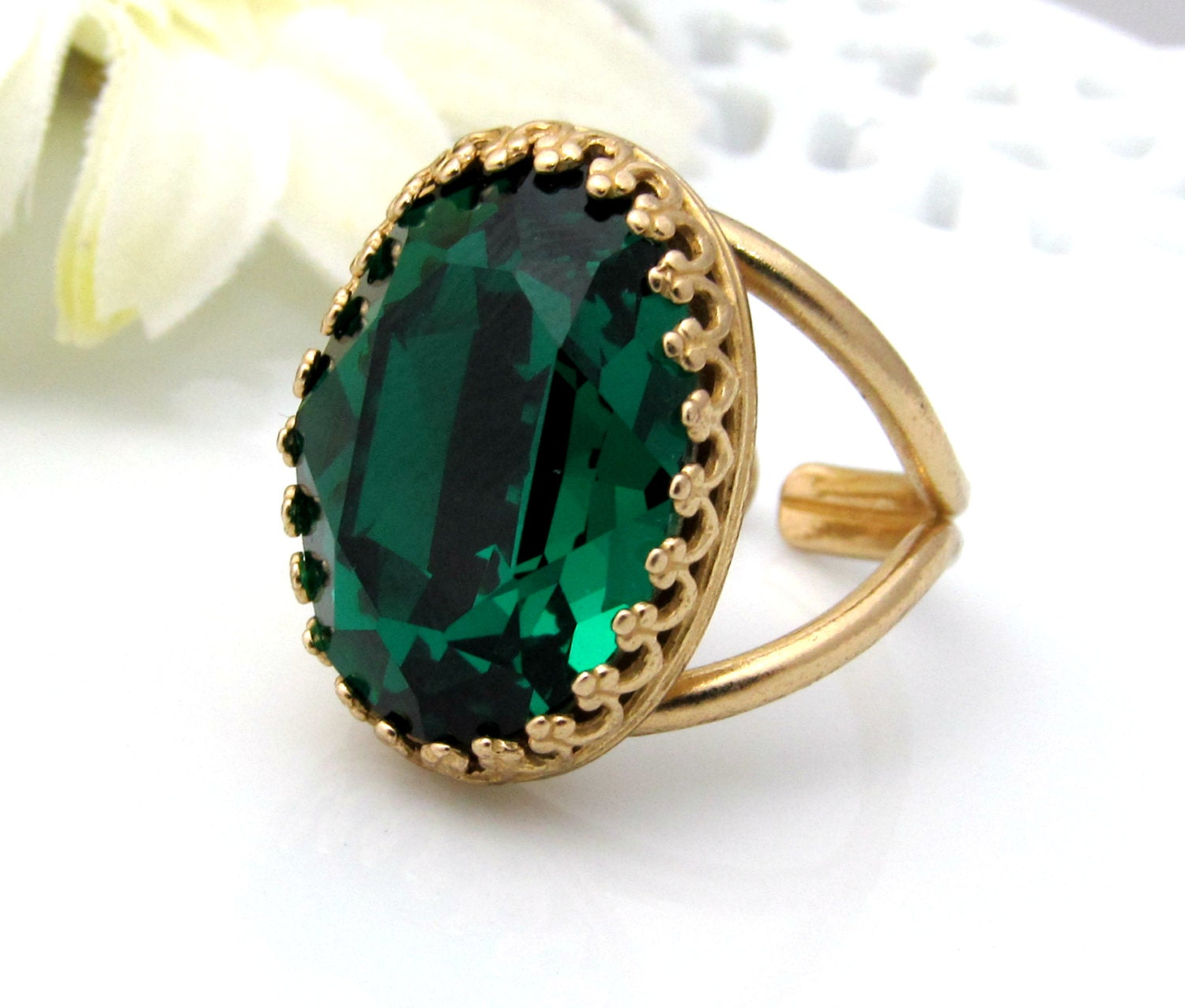 large emerald green ring gold adjustable ring by