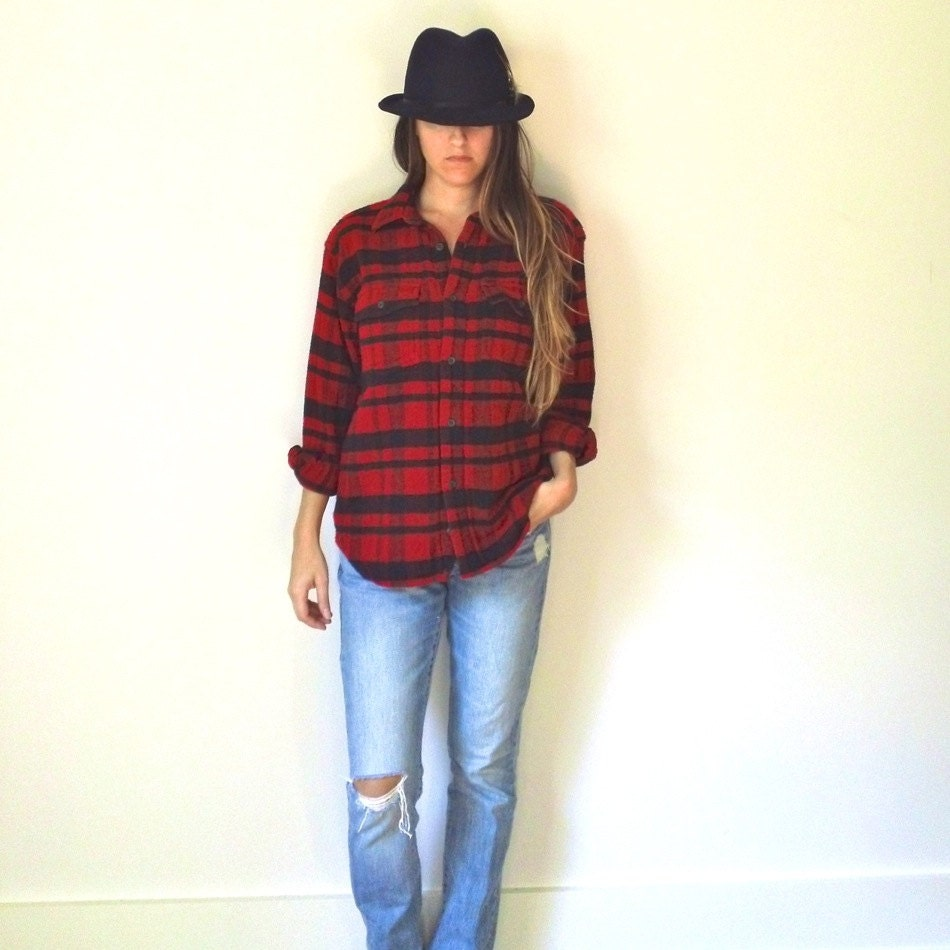 Ladies flannel shirt heavy red black plaid by jacknboots for Ladies soft flannel shirts