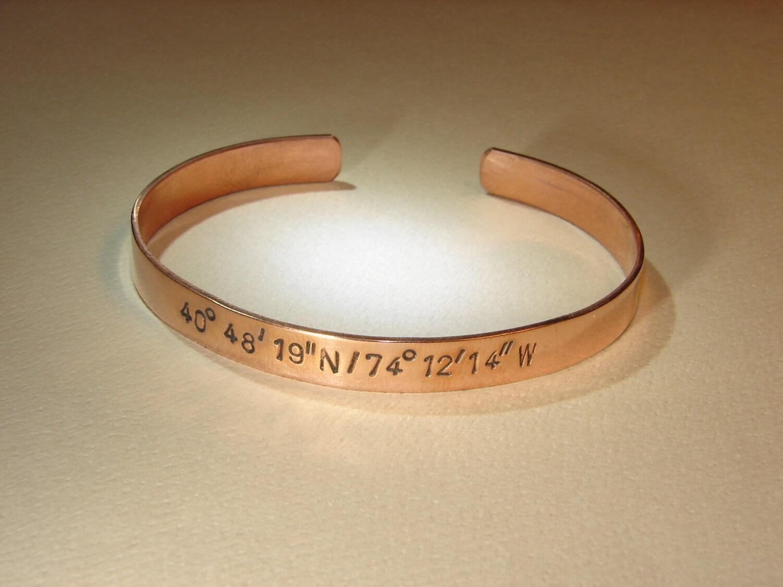 copper latitude longitude cuff bracelet personalized by