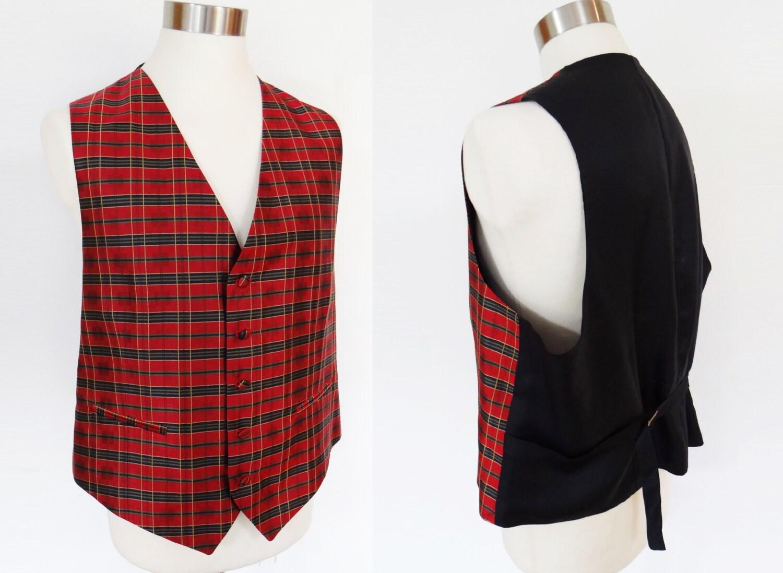 Mens Silk Waistcoat Extra Large Brand New Vintage Vest Mens Vest Scottish Tartan Highlands Boho Menswear Vintage Waistcoat