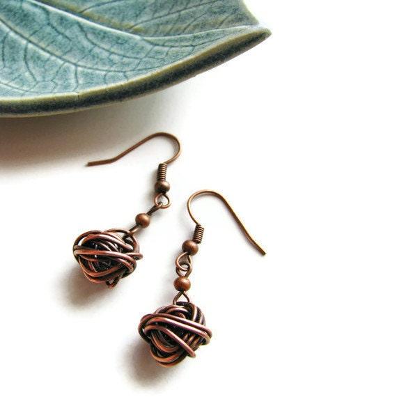 Minimalist Wire Ball Earrings - Copper Chaos - heversonart