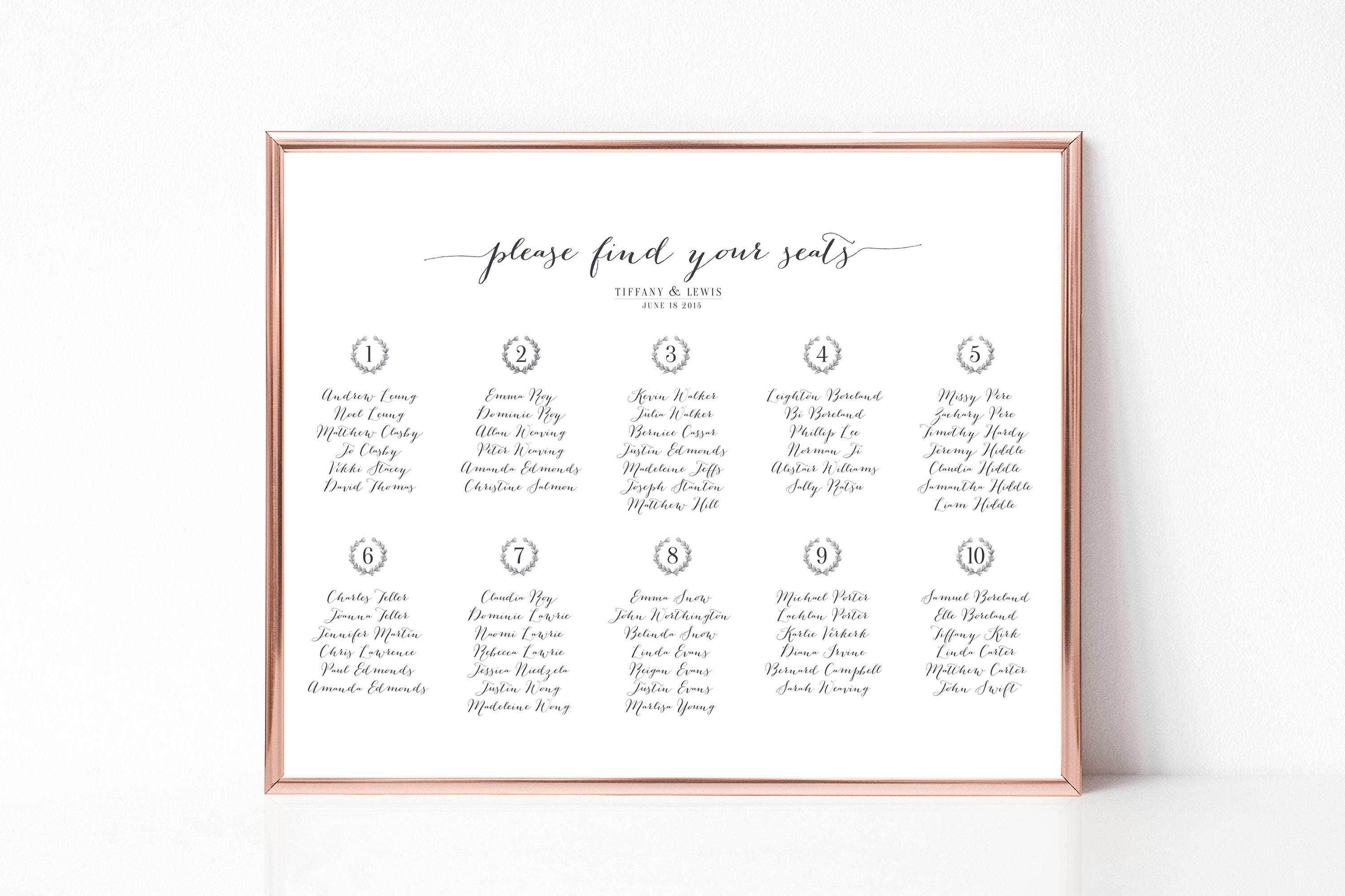 Printable Seating Chart Wreath Traditional Calligraphy Winter Seasonal Plan Arrangements Wedding Dinner