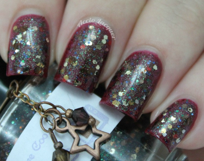 """Bowties Are Cool (The Eleventh Doctor) glitter nail polish 15 mL (.5 oz) from the """"Bigger on the Inside"""" Collection"""