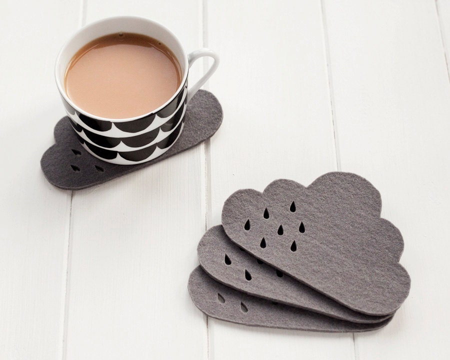 Cloud Felt Coaster set with punched rain detail -  100% 4mm grey thick wool felt, set of 4 - pygmycloud