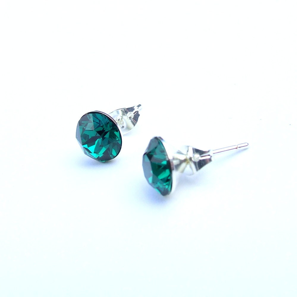 Emerald Green Swarovski Crystal Stud Earrings  Bridesmaid Earrings  Green Crystal Earrings