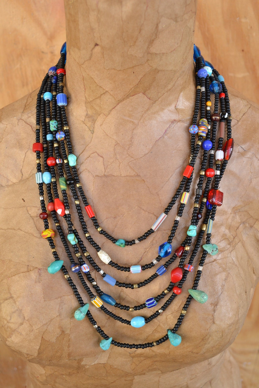 African Indian Inpired Multi-strand Black Necklace