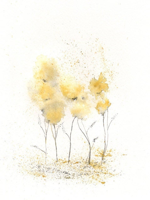 Fields of Love/watercolor print/grey and yellow/gray and yellow/