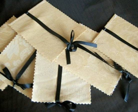 100 Beautiful fabric cover 4 page wedding programs ribbon accent customized