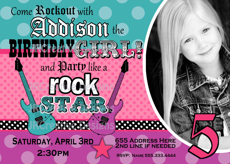 Similiar Girls Rock Party Invitations Keywords – Rockstar Party Invites
