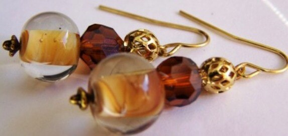 Brown and Gold Glass Bead Earrings - CreatedByGraceforYou