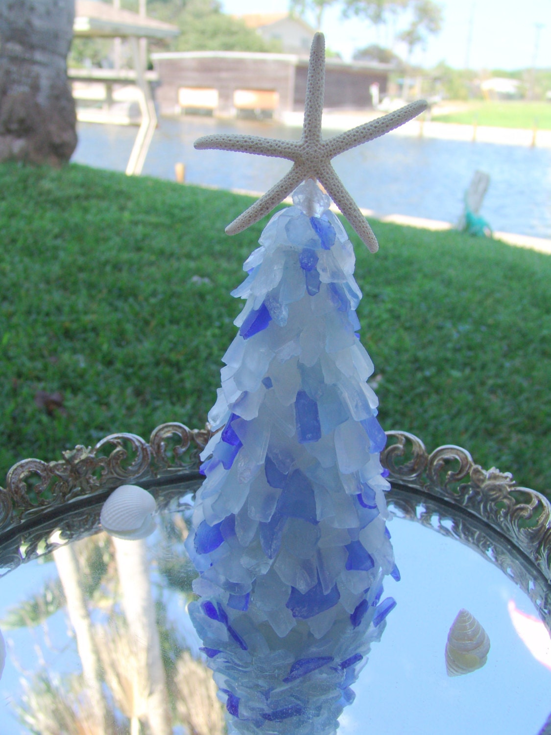 Seaglass tree with white finger starfish by