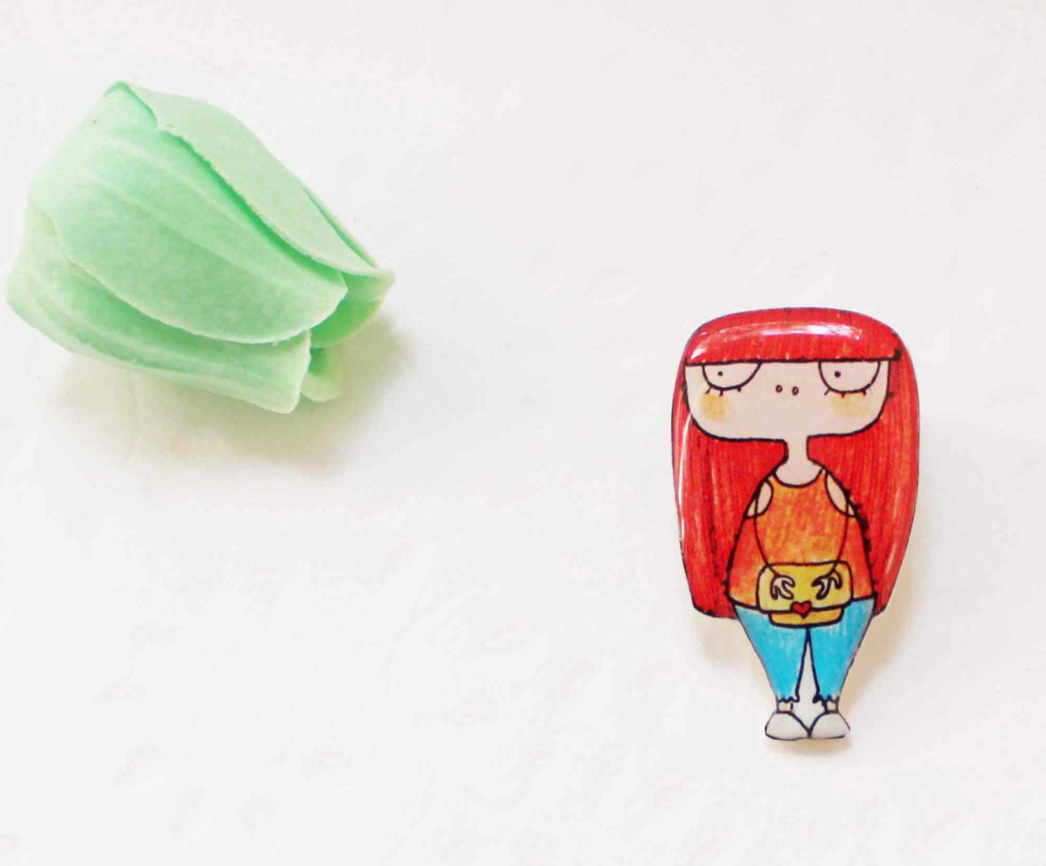 Free shipping Brooch pin for girls Red haired Teengirl, clay girl - Dinabijushop