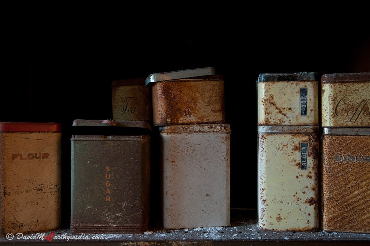 Rusted Kitchen Tins - Norwich State Hospital - An original 8x12 photograph - urban decay - modern art - photography - DavidMcCarthyMedia