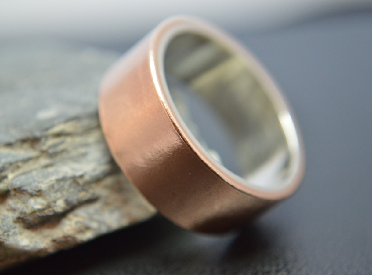 Bronze and Sterling Silver Ring Wide Band Promise Ring Thumb Ring Wedding Ring Wedding Band Bronze Anniversary Sterling Silver 925