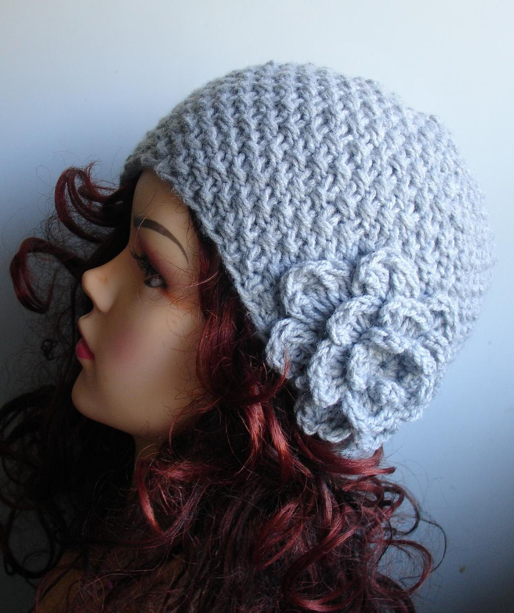 Hand knit beanie wool hat with crochet flower in GRAY womens fashion - autumn accessories - womens hat with flower - rose crochet