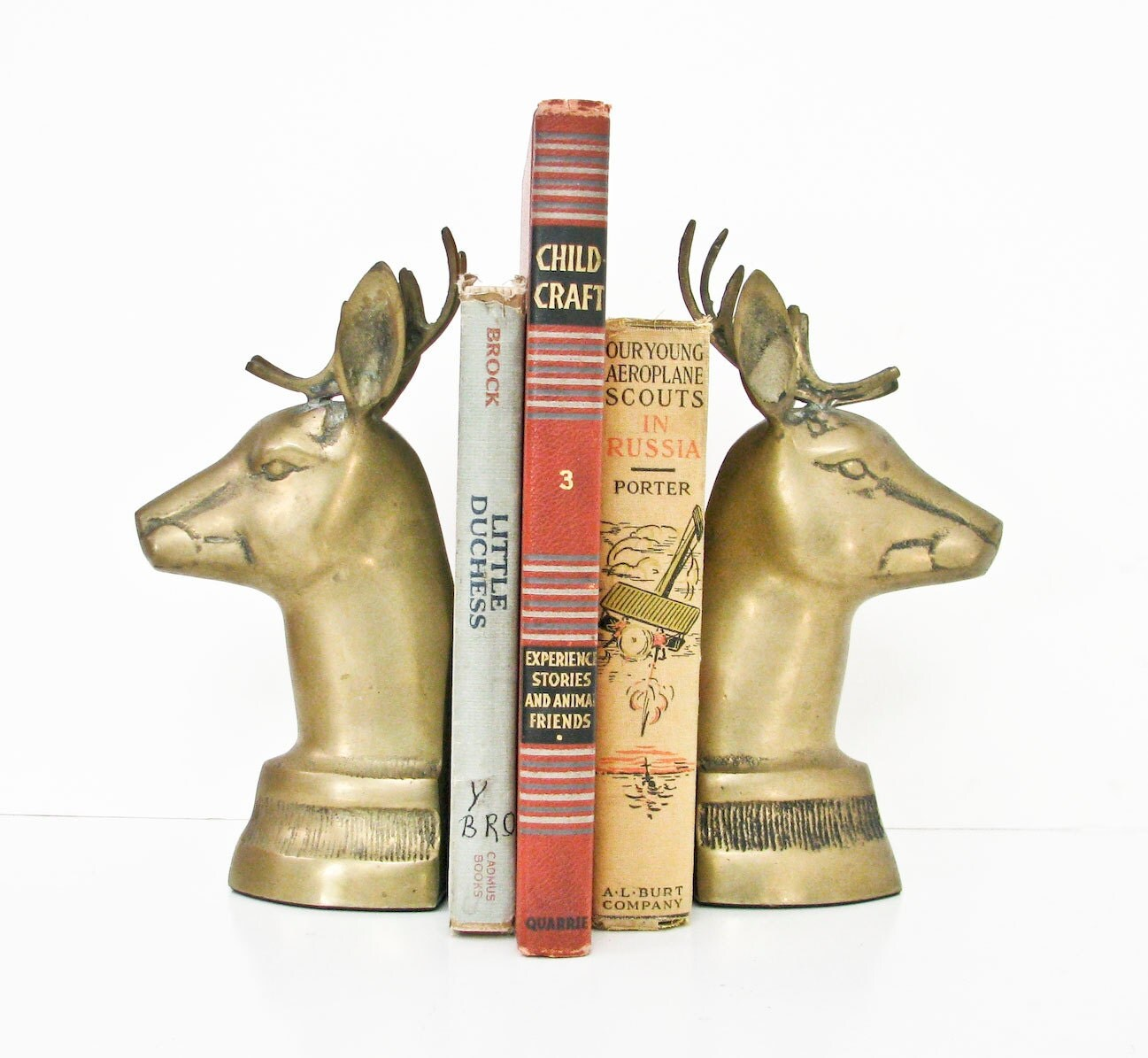Deer Bookends - Vintage Solid Brass - Reindeer - BeeJayKay