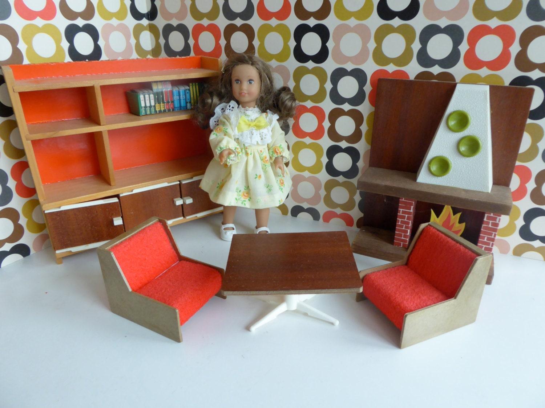Vintage Italian FRADE DOLLHOUSE LivingSitting Room FURNITURE   perfect for 57 dolls like Dawn Lottie Mini American Girl and Pippa