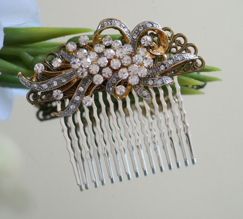 Bridal Wedding Hair Comb, Gold Hair Comb, Handmade Bridal Hair Accessories, Hair Comb, Vintage style, Wedding, Hair Comb, Bridal Comb - kimkdep