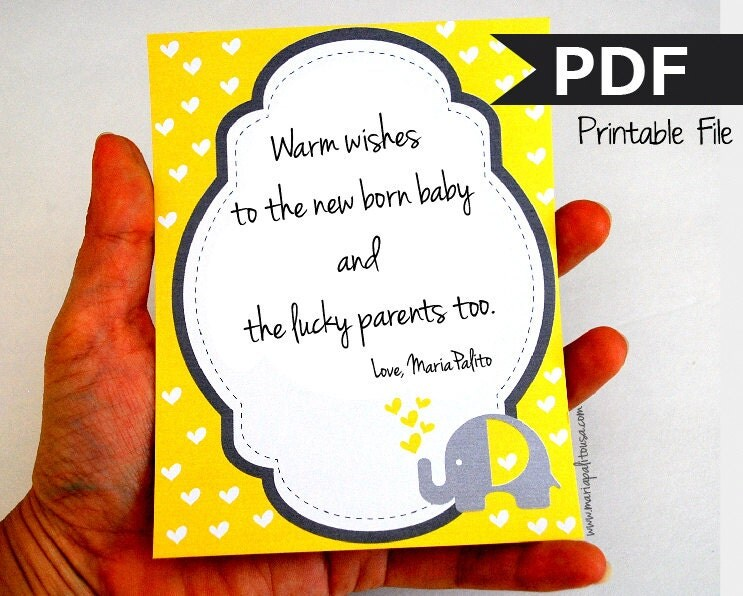 Elephant Card Notes, Baby Wish Card Notes, Yellow and Grey Elephant wishing card, DIY Printable File MariaPalito A790