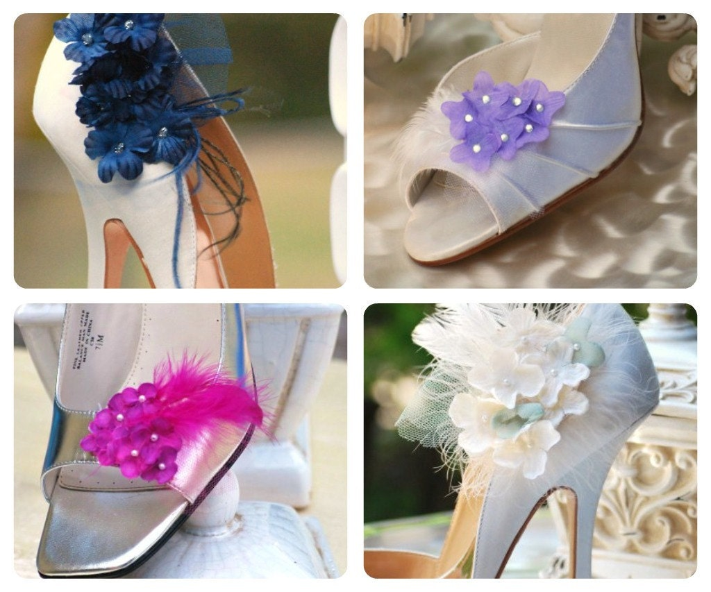 Shoe Clips Ivory and Celadon Sage Hydrangeas. Bridesmaid Bride More White / Lilac / Fuchsia / Navy / Green. Rooster Feathers, Tulle Couture