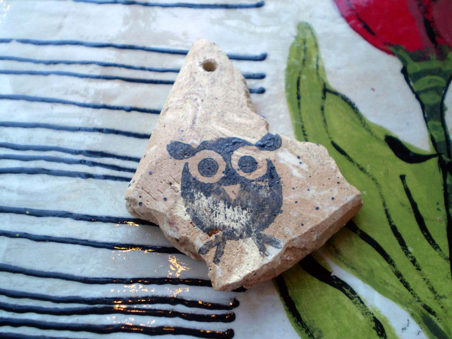 Owl Ceramic Focal Bead, Marbleized Bead, Handmade Jewelry Supply - spinningstarstudio