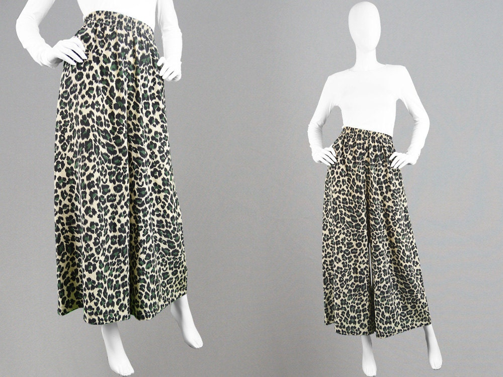 Vintage 90s MONDI Silk Palazzo Pants Designer Trousers Floaty Wide Leg Pants Leopard Print Long Gauchos High Waisted Long Culottes Animal