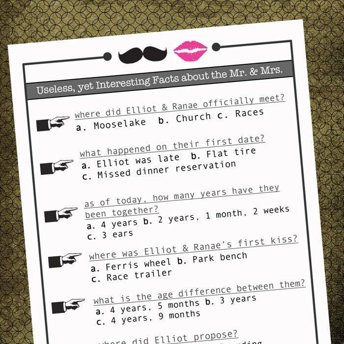 Printable Couple Questionaire Unique Wedding Program Insert Table