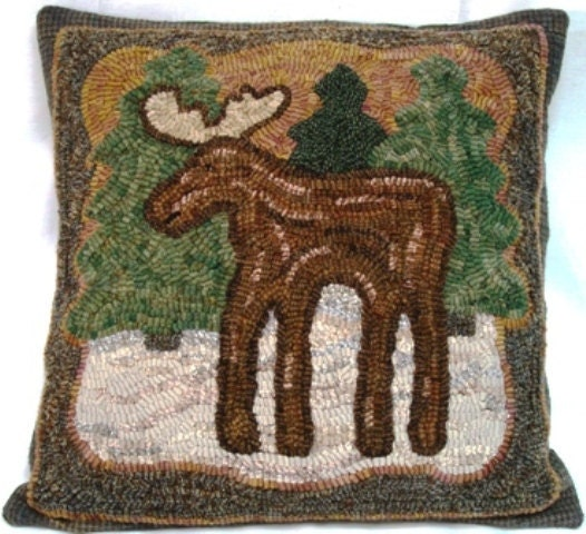Rug Hooking Pattern On Linen Pinewoods Moose 16 X By