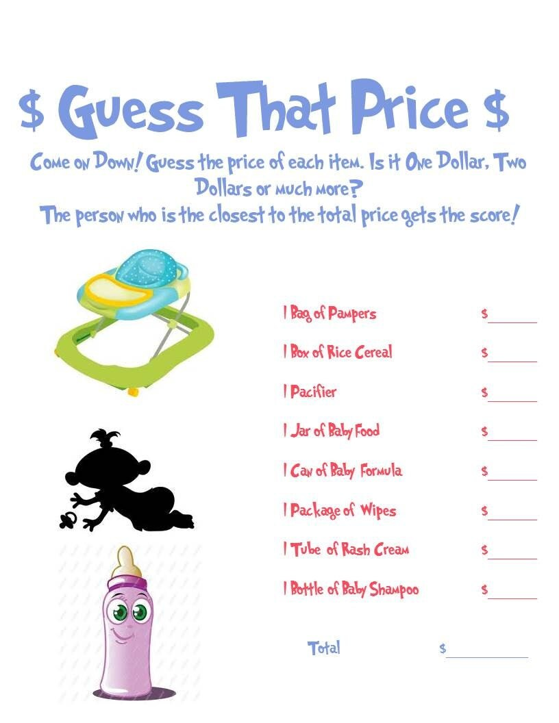 Guess That Price Baby Shower Game by AllThingsParty on Etsy