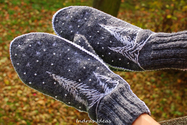Серый зимний варежки стиль - теплый и красивый