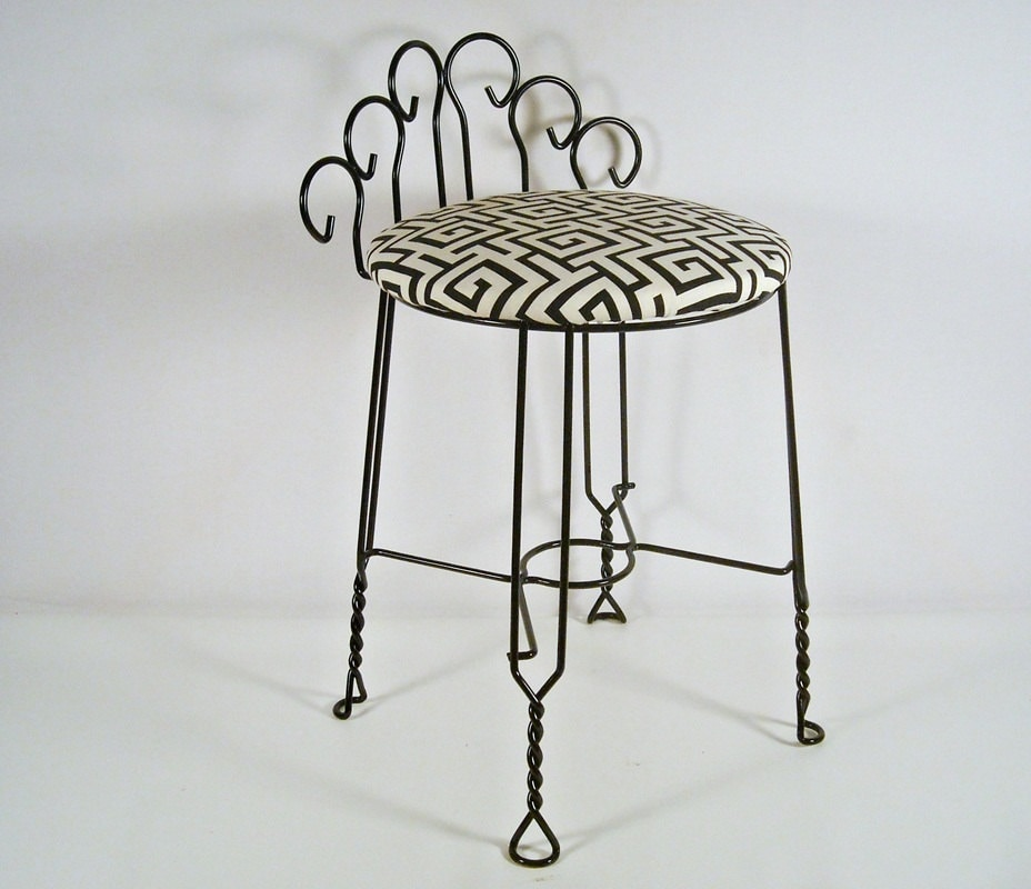 Mid Century Vanity Stool Bench Black Metal By Silverbranchhome