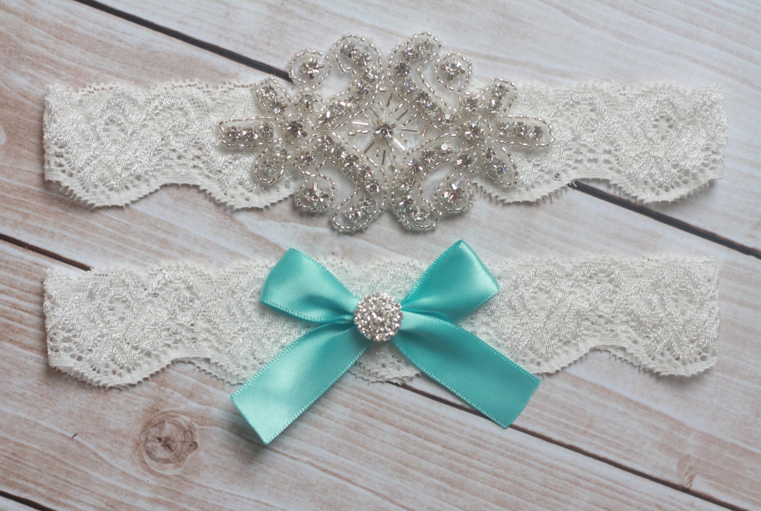Tiffany Blue Wedding Garter - Aqua Rhinestone and Crystal Garter - Ivory Lace