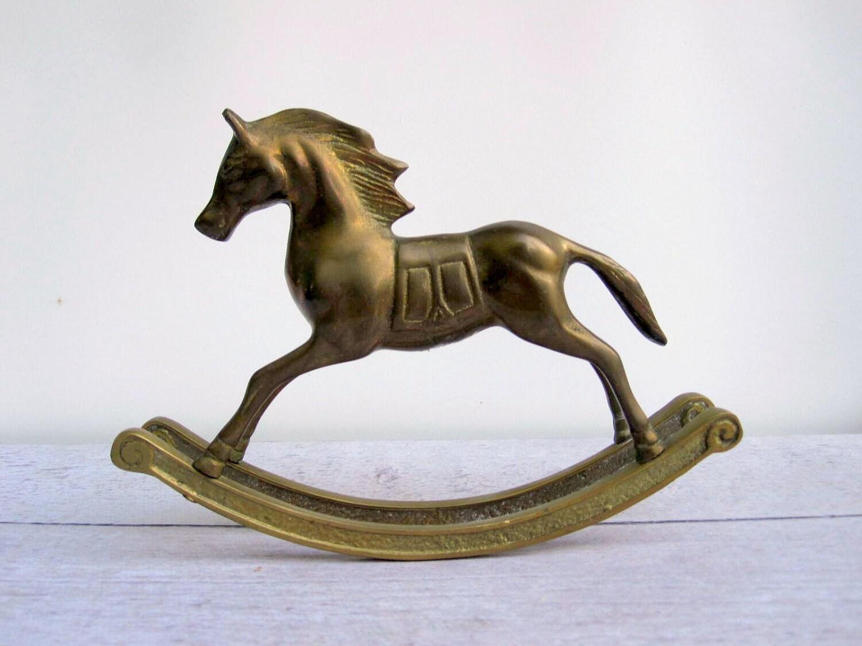 horse decor brass rocking horse baby by lovebutlervintage. Black Bedroom Furniture Sets. Home Design Ideas