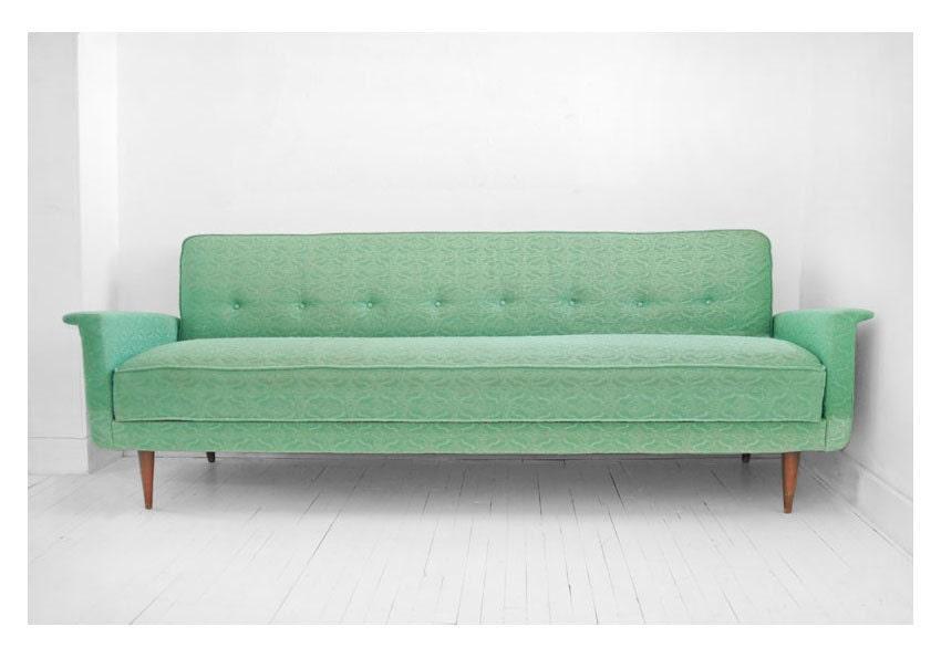 vintage sea foam green sofa couch mid century modern retro eames